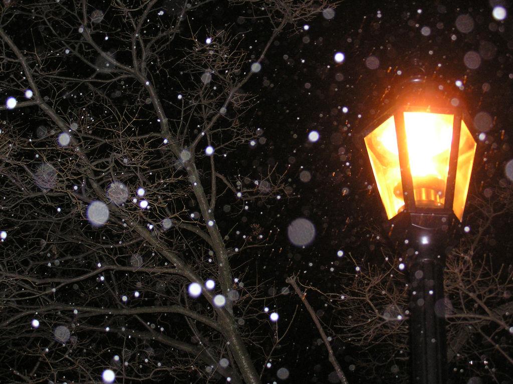 фотографии картинка снегопад и фонарь этого
